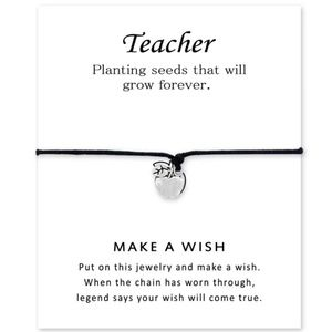 Jewelry - Teacher wish bracelet, make a wish jewelry, apple